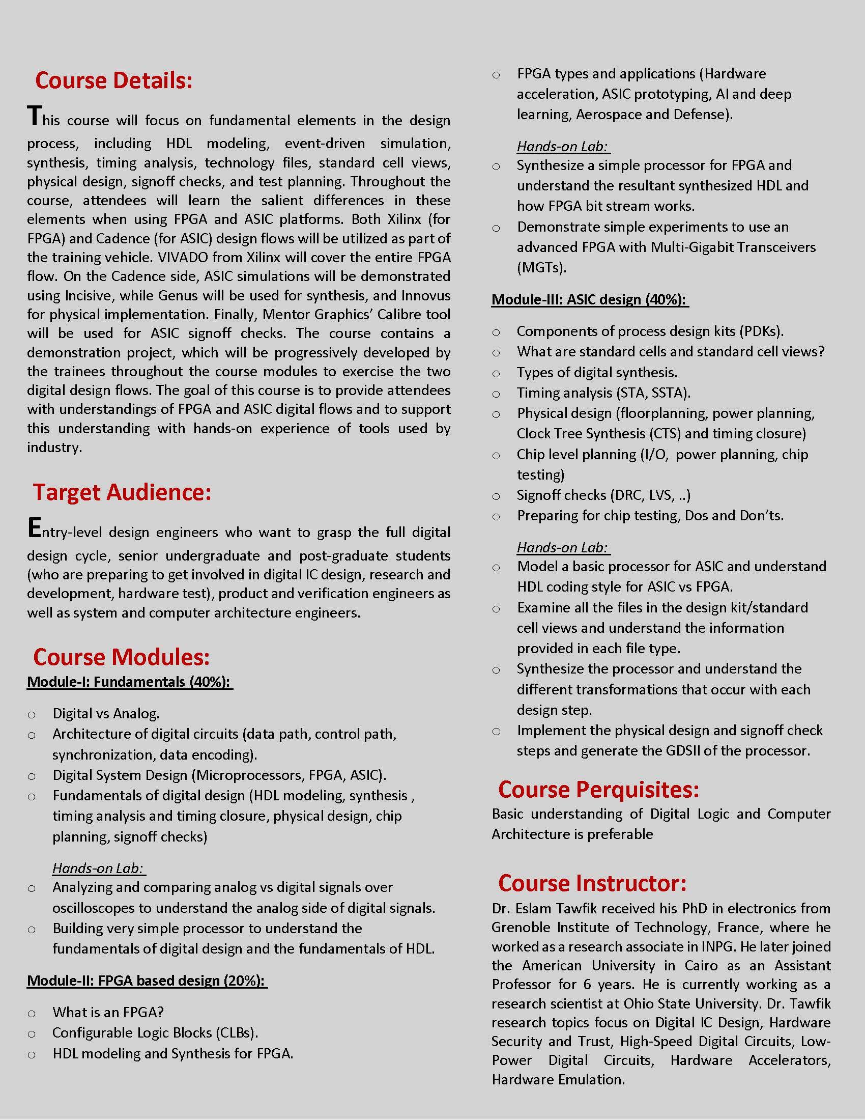 Fundamentals Of Digital Ic Design New Course Electroscience Laboratory